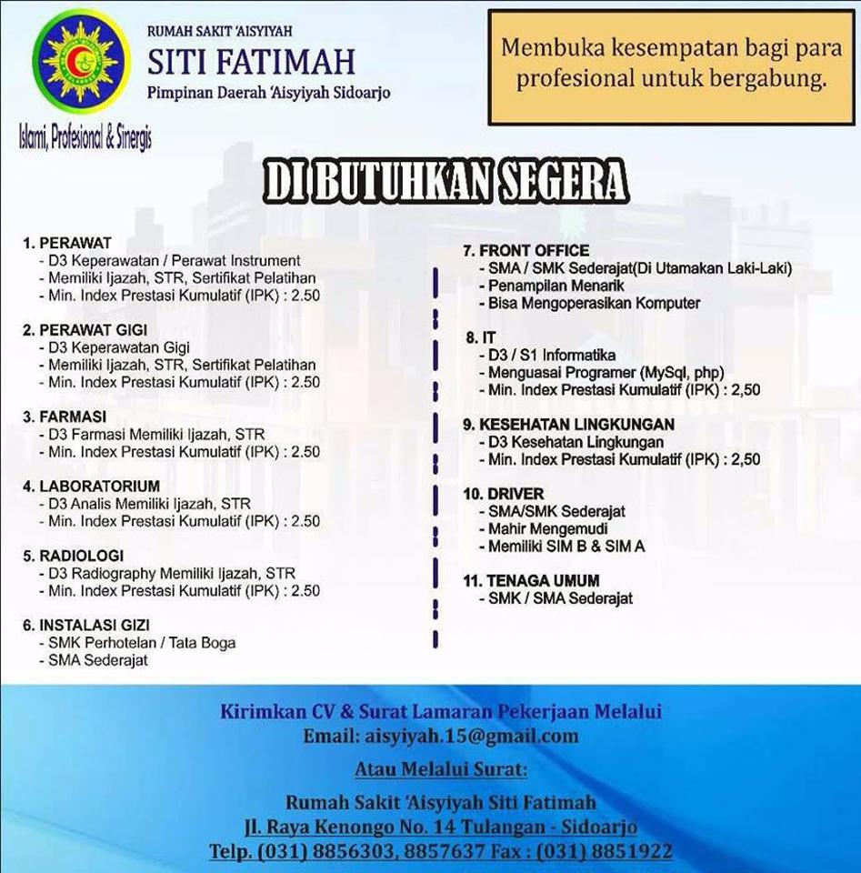 Lowongan Kerja Rumah Sakit Aisyiyah Siti Fatimah Sidoarjo Ika Um