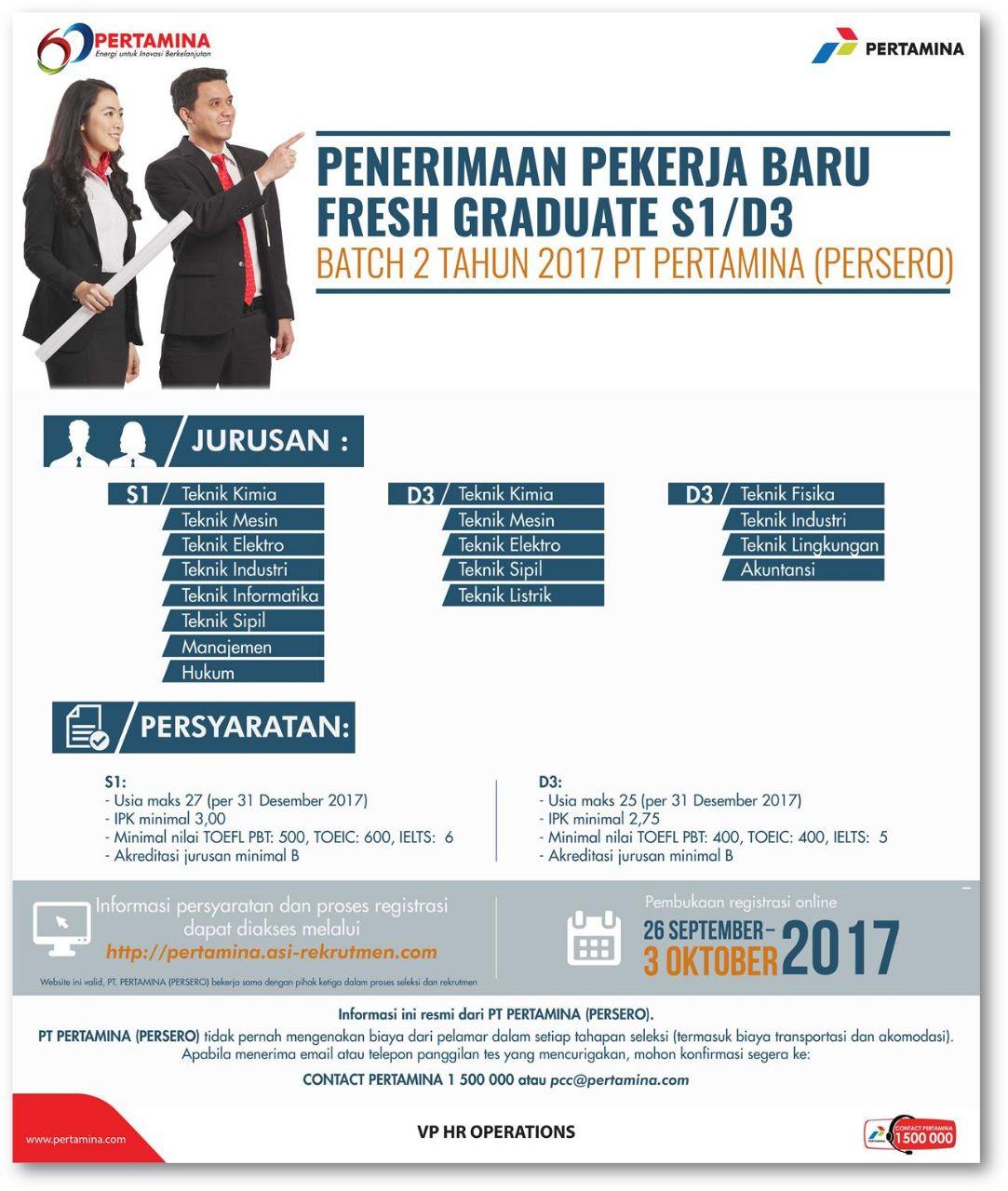 Penerimaan Pekerja Baru Fresh Graduate S1 D3 Pt Pertamina Persero Ika Um