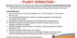 Management Trainee (MT) Plant Operation TANCORP