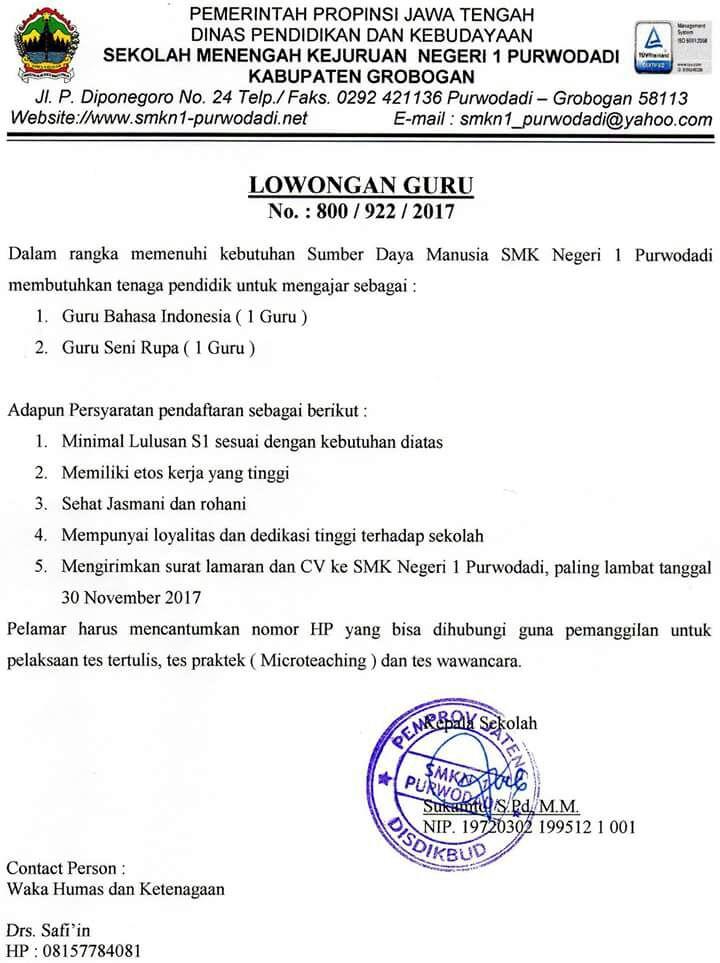 Lowongan Guru SMK Negeri I Purwodadi