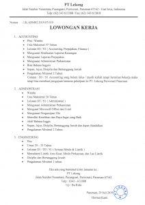 Info Lowongan PT Lekong