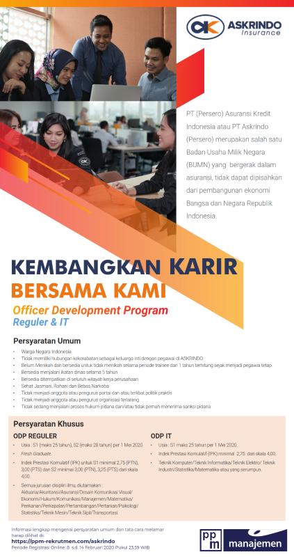 Officer Development Program Reguler It Pt Asuransi Kredit Indonesia Ika Um